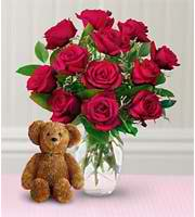 Dozen Of Roses With A Bear